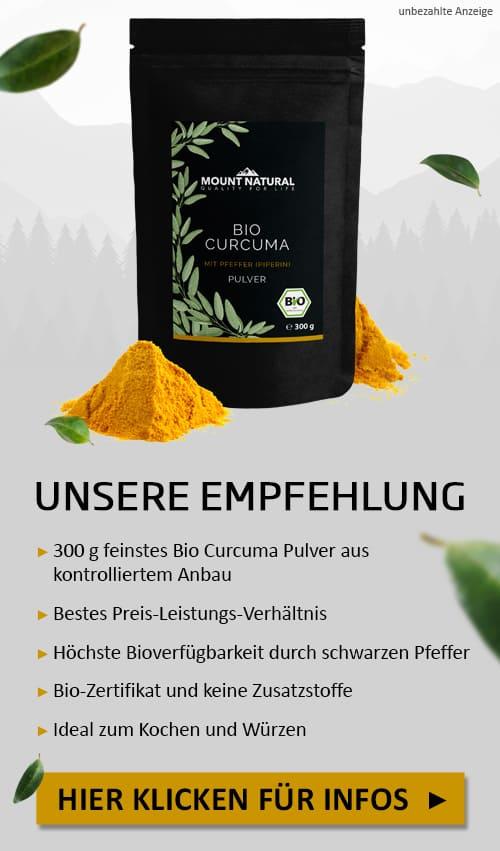 Mount Natural Bio Curcuma Pulver mit schwarzem Bio-Pfeffer (Piperin)